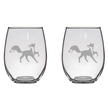 Fox Engraved Glasses, Cute Fox, Gift Free Personalization