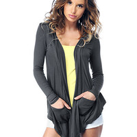 Long Sleeve Hooded Pocket Cardigan | Sexy Clothes Womens Sexy Dresses Sexy Clubwear Sexy Swimwear | Flirt Catalog