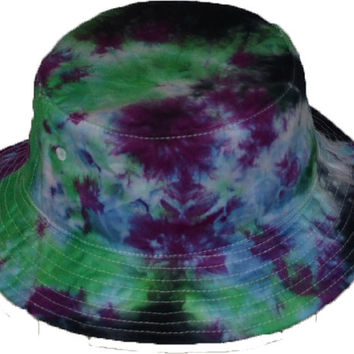 Tie-Dye Bucket Hat Purple Green Black (onesize 22.5 inch id)