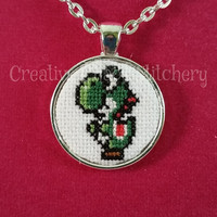 Cross Stitch Necklace - Video Games - Dinosaur