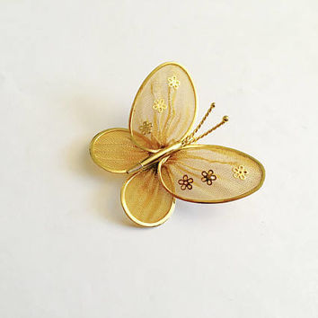Vintage Gold Tone Mesh Butterfly Figural Brooch, Pin or Pendant with Floral Detail on the Wings,