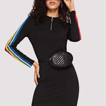 O-ring Zip Front Rainbow Striped Tape Pencil Dress