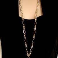 Lanyard in Two Tone Byzantine and Oval Rings
