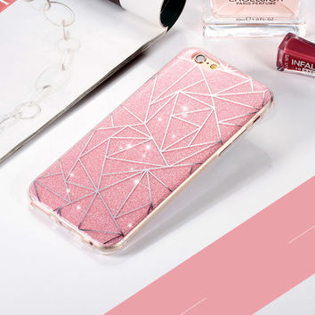 For Apple iPhone 6 6S plus 5 5S Phone Case for iphone 7 7 plus Soft Gel TPU Back Cover Bling Glitter Shimmering Protective Shell -0328