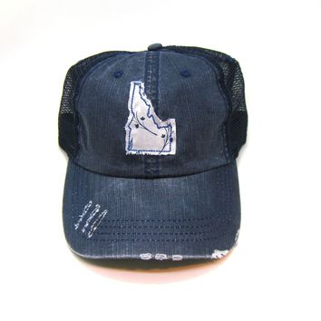 Idaho Trucker Hat - Distressed - Floral Fabric State Cutout