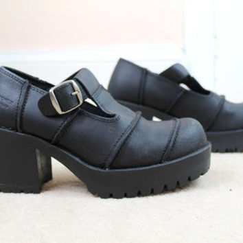 90s Grunge Clueless Black Faux Leather Chunky Platform Ribbed Mary Jane School Girl Shoes UK 4 / US 6.5 / EU 37