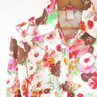 60's/70's Retro PINK Painted POPPY Flowers Floral Button Down Disco Collar Shirt Sz M
