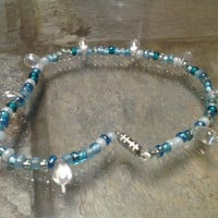 Light Blue Glass Bead Anklet with Clear Tear Drop Glass Beads