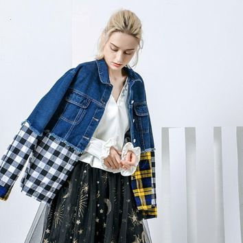 Trendy [QLZW] 2018 New Summer Lapel Ong Sleeve Blue Denim Plaid Split Joint Hit Color Loose Big Size Jacket Women Coat Fashion Tide J AT_94_13
