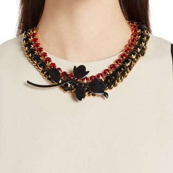 Marni 'Strass' Leather, Crystal, Chain & Ribbon Statement Necklace | Nordstrom