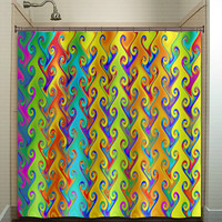 rainbow colors multicolor bright colorful shower curtain bathroom decor fabric kids bath window curtains panels bathmat valance