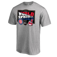 Chicago Cubs vs. Cleveland Indians 2016 World Series Bound Dueling Check Swing T-Shirt - Heather Gray