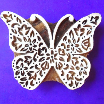 Butterfly Large  Hand Carved Wood Stamp Animal Indian Print Block