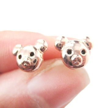 Adorable Teddy Bear Face Shaped Animal Themed Stud Earrings in Rose Gold
