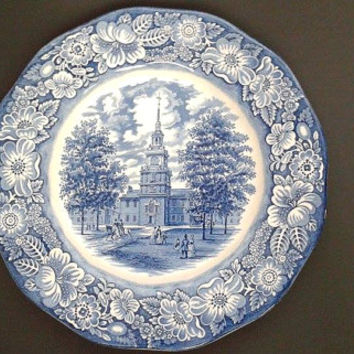 Liberty Blue Independence Hall Dinner Plate