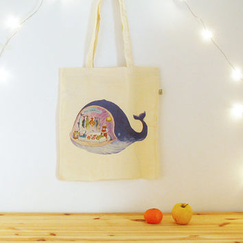 Blue Whale Tote Bag, reusable shopping bag, organic cotton bag, quirky design tote, funny fish tote bag