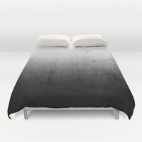 Black Ombre Concrete Texture Duvet Cover by Cafelab