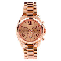GENEVA Unisex Roman Numerals Big Dial Aolly Band Three Sub-dials Quartz Analog Wrist Watch with Date Function - Rose Gold = 1956936068