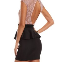 Lace-Top Peplum 2-Fer Dress: Charlotte Russe