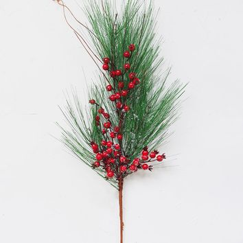 "Weather Resistant Fake Long Needle Pine & Red Berry Branch - 34"" Tall"
