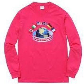 Supreme World Wide Long Sleeve - Hot Pink