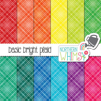 Plaid Digital Paper - diagonal plaid patterns in red, orange, yellow, green, blue, purple & hot pink -tartan scrapbook paper -commercial use