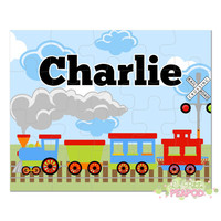"Train Puzzle - Kids Puzzles - Personalized 8"" x 10"" Puzzle - 20 or 100 pieces - Train Design - Personalized Name Puzzle"
