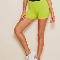 Neon Lime Wide Waistband Cycling Shorts