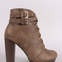 Double Buckled Lace-Up Combat Chunky Platform Booties