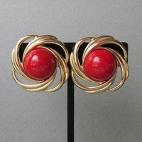 Signed TRIFARI Big Lipstick Red Lucite Cabochon Vintage Button Earrings