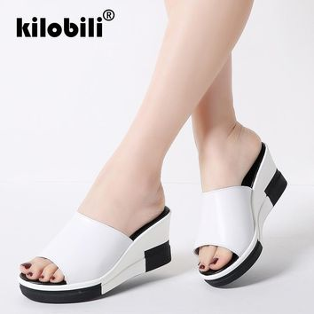 kilobili Women Summer Slides Fashion Leisure shoes women platform wedges Peep Toe Sandals Thick Slippers leather casual slippers