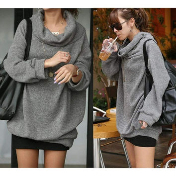 Women Hot Gray Comfortable Loose Big Size Long Sleeve T shirt Casual Blouse Top pullover Cardigan Coat Sweatshirt Hoodie Shirt Sweater = 1945881860