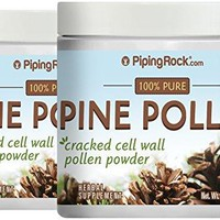 Piping Rock Pine Pollen Powder Wild Harvested Cell Wall Cracked 2 Bottles x 2 oz (57 g)