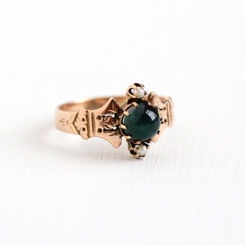 Antique Victorian 10k Rose Gold Bloodstone & Seed Pearl Ring - Vintage 1890s Size 8 1/2 Green Red Round Gem Cabochon Fine Statement Jewelry