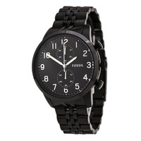 Fossil FS4877 Men's Townsman Chronograph Black Dial Black IP Stainless Steel Watch