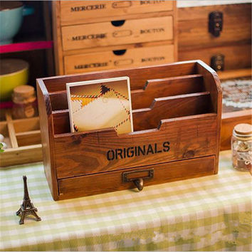 Practical Office Home Furnishing Manual Wooden Crafts Wood Pen Box Sundries Storage Box Classic Retro Desk Organizer