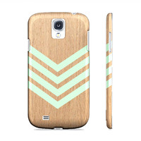 Galaxy S4 Case - Mint Green Chevron Geometric Wood - Premium Slim Fit Galaxy S4 Cover - Also Available for Iphone 4/4s Iphone 5 & Galaxy S3
