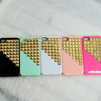 Golden studded iphone 5 case, Gold pyramid studs for iPhone 5 case, Iphone 5 case, Iphone 5 case-choose one colour