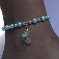 Starfish Anklet with Aqua Pearls and Sea Glass