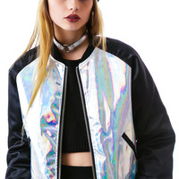 UNIF Holo Bomber Jacket Black Hologram