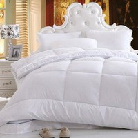 DaDa Bedding Light Soft Warm Solid White Alternative Down Comforter Duvet Insert Filler (QF098765)