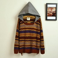 Magic Pieces Retro Hit Color Embroidered Big Yards Sweater
