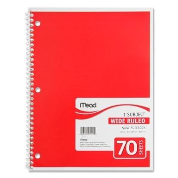 """Mead Spiral Notebook,1-Subject,Wide Rule,70 Sh,10-1/2""""x8"""",Ast."""