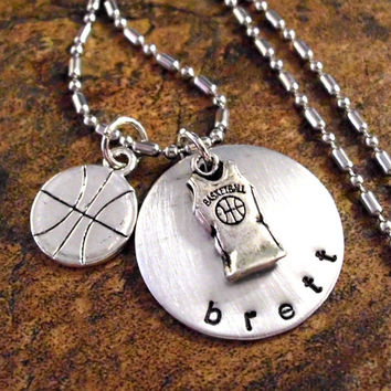 Basketball Necklace, Basketball Jewelry, Personalized Jewelry, Personalized Basketball Jersey Necklace, Sports Jewelry, I Love Basketball