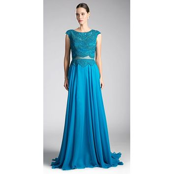 Teal Illusion Beaded Formal Gown Cap Sleeves with Slit