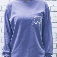 Light Blue Ivory Ella Elephant Pocket Print Long Sleeve Cute Casual T-Shirt