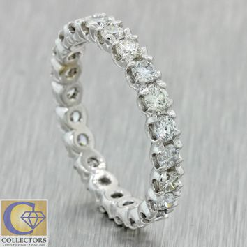 Vintage Estate 14k Solid White Gold 1.62ct Diamond Eternity Wedding Band Ring A1