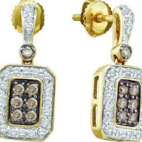 Cognac Diamond Ladies Fashion Earrings in 10k Gold 0.5 ctw
