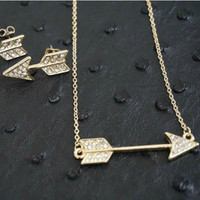 Pave Arrow Necklace and Earring Set   Rose Gold   Accessories