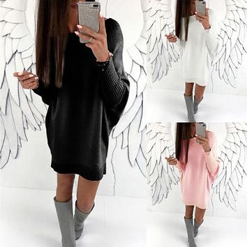 Womens Winter Long Sleeve Sweater Jumper Knit Ladies Loose Solid Clothing Autumn Short Mini Dress